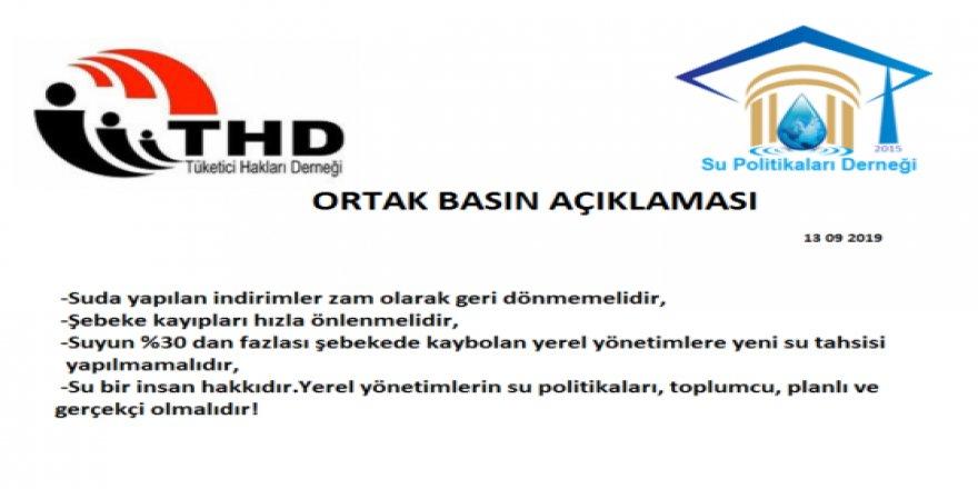 SPD VE THD'nin Ortak Basın Açıklaması: Suda yapılan indirimler zam olarak geri dönmemelidir