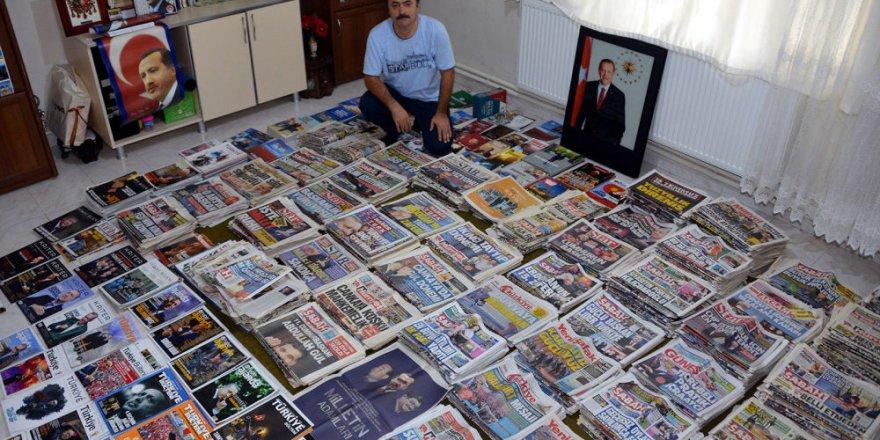Erdoğan'ın yer aldığı gazeteleri 17 yıldır biriktiriyor