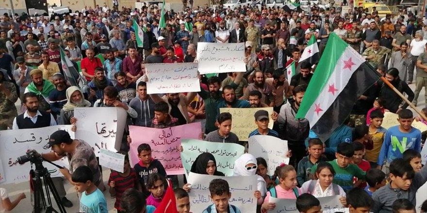 Münbiçliler, Esed Rejiminin Münbiç'e Girişini Protesto Etti