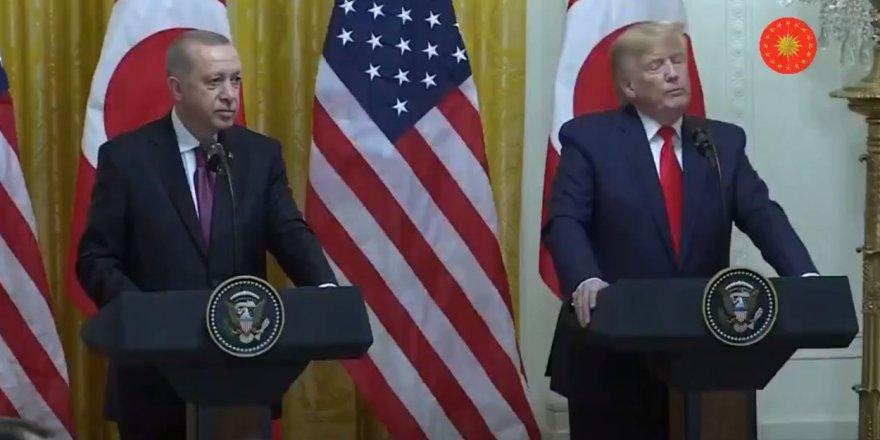 Cumhurbaşkanı Erdoğan, ABD Başkanı Trump ile ortak basın toplantısında konuşuyor