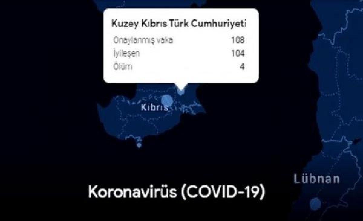 Google, koronavirüs haritasında KKTC'yi tanıdı