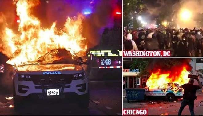 ABD yanıyor! Beyaz Saray önünde çatışmalar yaşandı