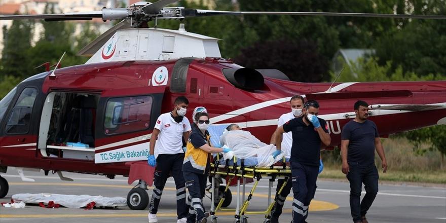 Kayseri'de Ambulans Helikopter Kalp Hastası Kadın İçin Havalandı