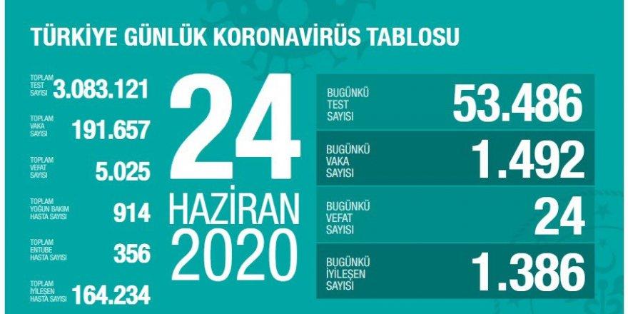 Türkiye'de Koronavirüs: Bugünkü vaka sayısı 1492