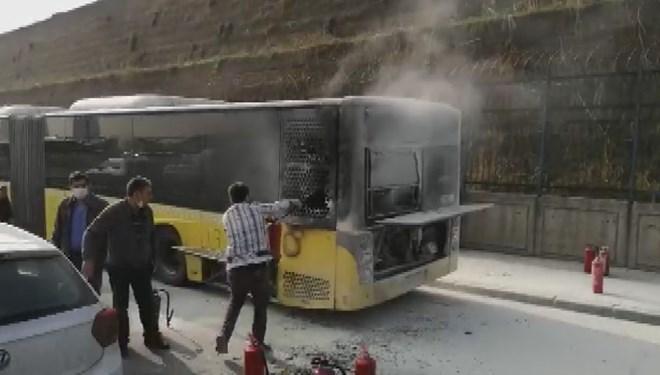 Sefaköy D-100'de otobüste yangın