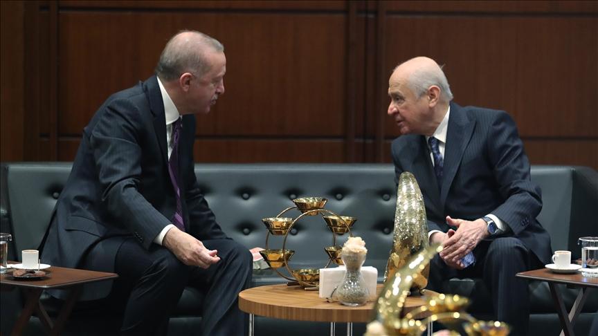 Erdoğan, MHP Genel Başkanı Bahçeli ile bir araya geldi