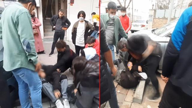 Karısını takip eden tacizciyi sokak ortasında evire çevire dövdü!