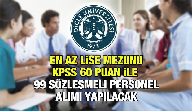 Dicle Üniversitesi en az KPSS 60 puan ile kontratlı işçi alım ilanı!