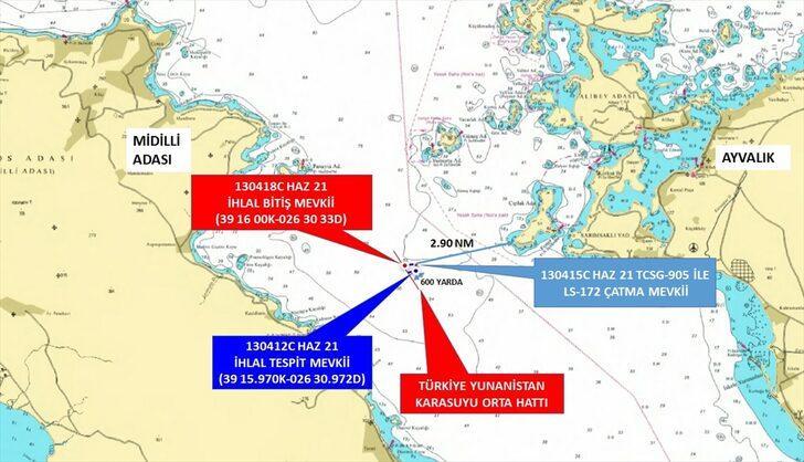 Ayvalık açıklarında hareketli anlar! Yunan sahil güvenlik botu Türk kara sularından çıkarıldı