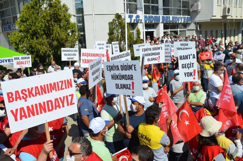 Saldırıya uğrayan Başkan Atabay için dayanışma mitingi