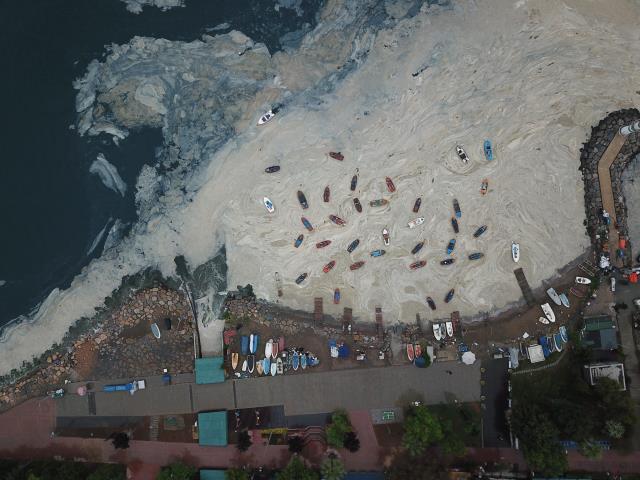 Uzun uğraşlar sonucu temizlenen sahil tekrar müsilajla kaplandı!