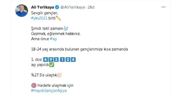 İstanbul Valisi Ali Yerlikaya'dan Gençlere Aşı Çağrısı