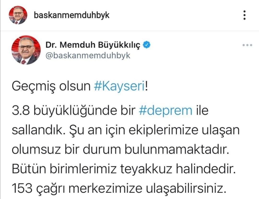 Büyükşehir Belediye Başkanı Büyükkılıç , Depremle İlgili Son Bilgiyi Açıkladı