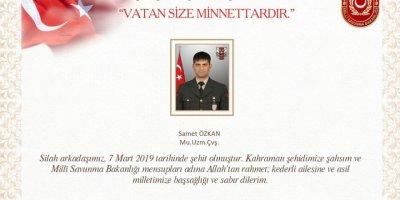 Bakanlıktan Iğdır'da silah kazasında şehit olan asker için açıklama